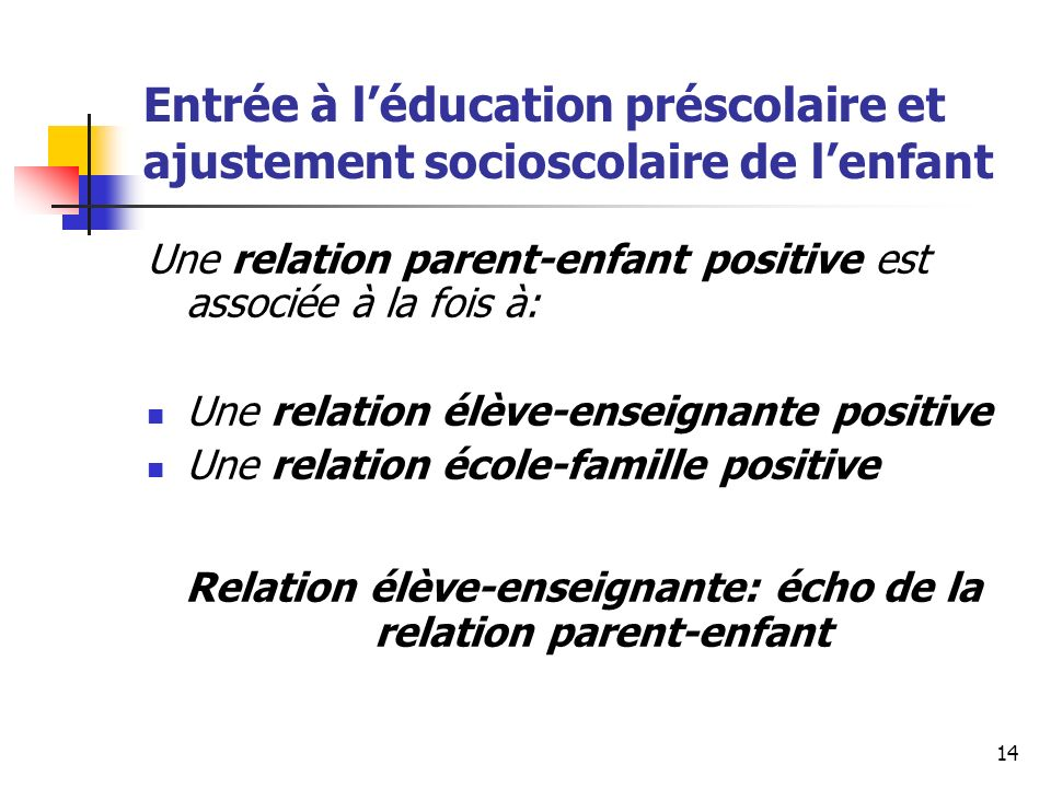 Relation élève-enseignante: écho de la relation parent-enfant