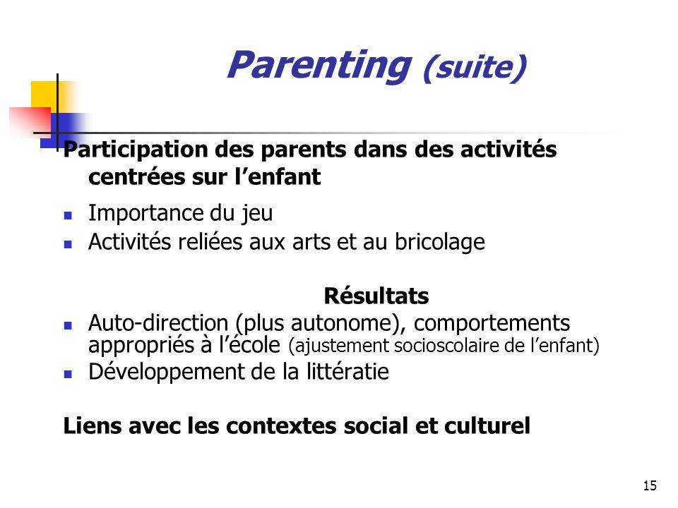 Parenting (suite) Participation des parents dans des activités centrées sur l'enfant. Importance du jeu.