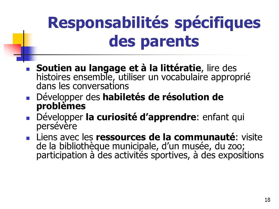 Responsabilités spécifiques des parents