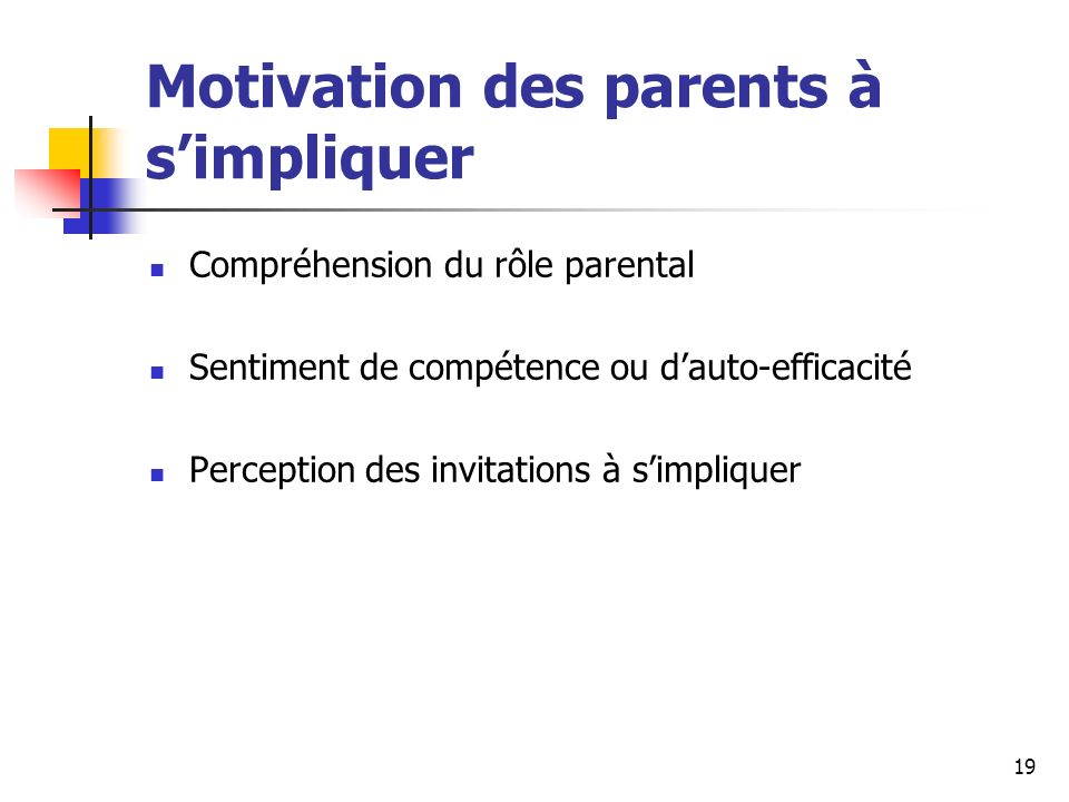 Motivation des parents à s'impliquer
