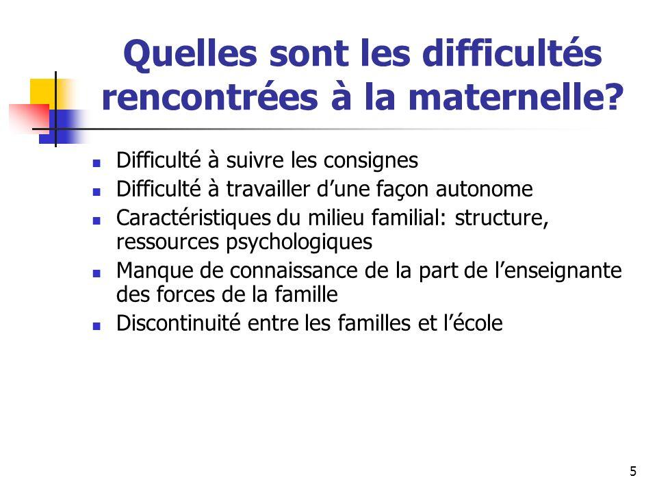 Quelles sont les difficultés rencontrées à la maternelle