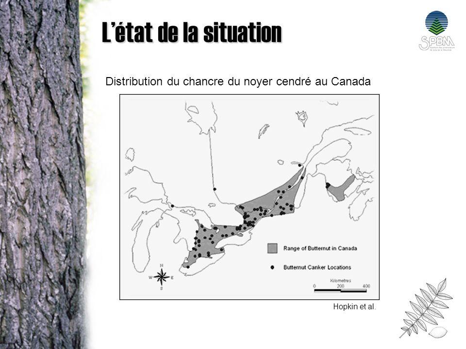 L'état de la situation Distribution du chancre du noyer cendré au Canada Hopkin et al.