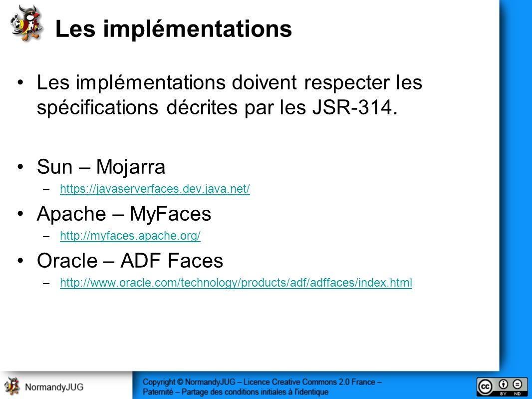 Les implémentations Les implémentations doivent respecter les spécifications décrites par les JSR-314.
