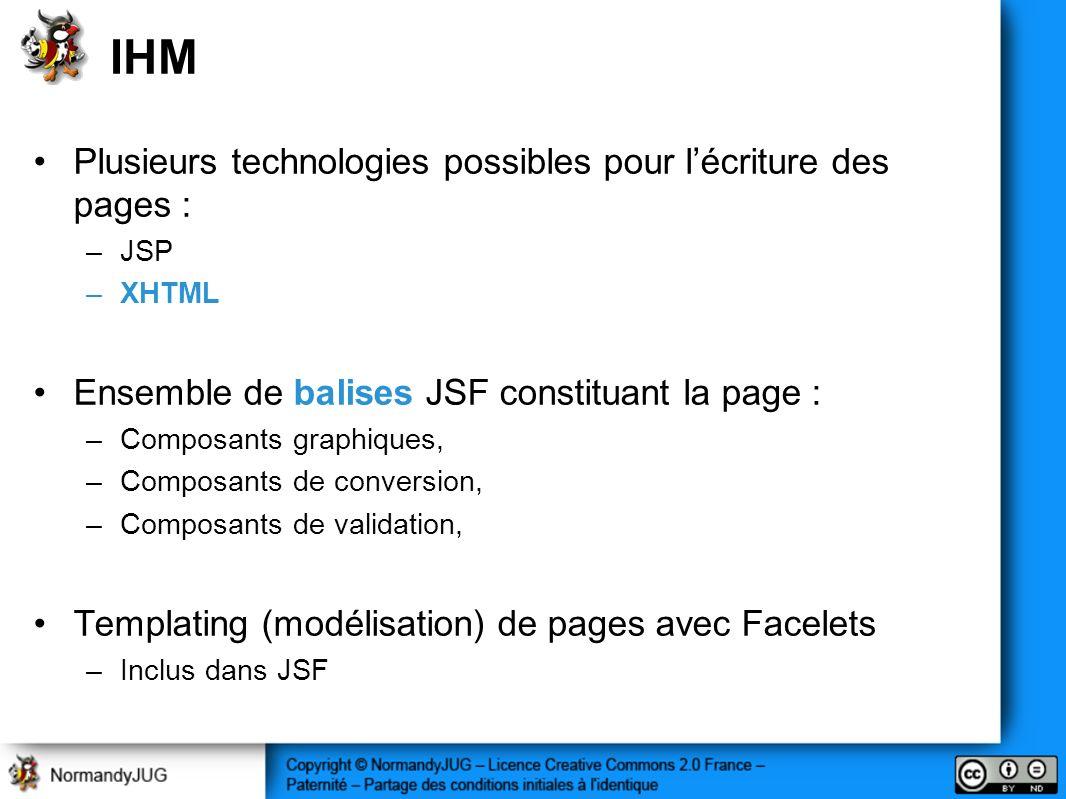 IHM Plusieurs technologies possibles pour l'écriture des pages :