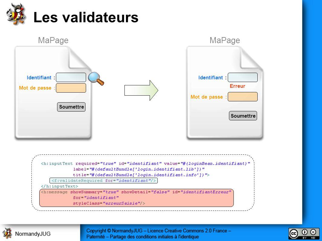 Les validateurs MaPage MaPage Mot de passe : Identifiant : Soumettre