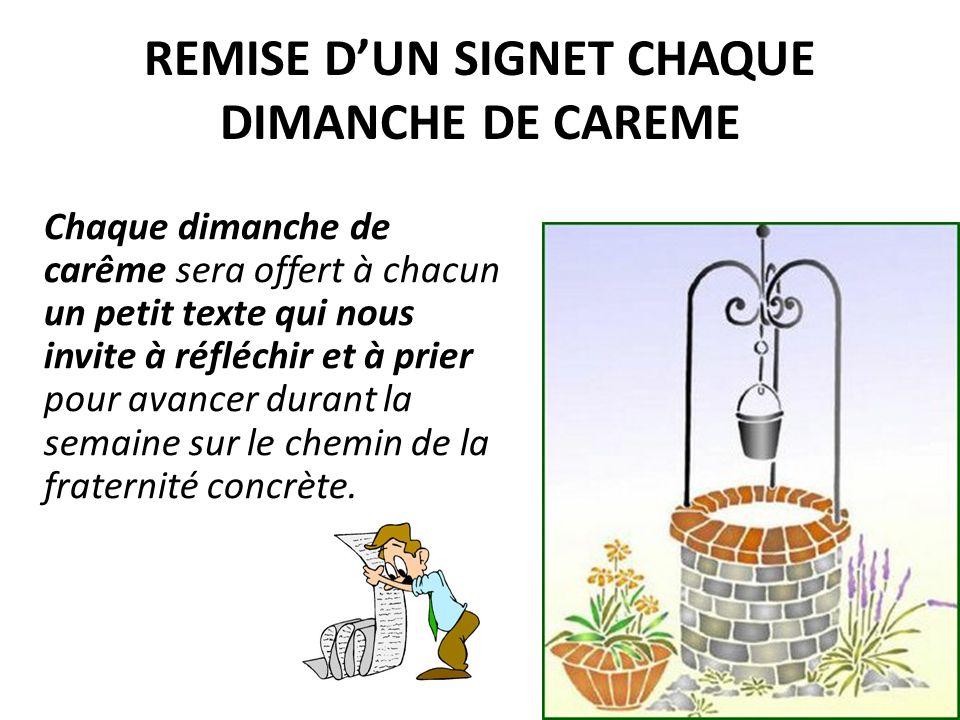 REMISE D'UN SIGNET CHAQUE DIMANCHE DE CAREME