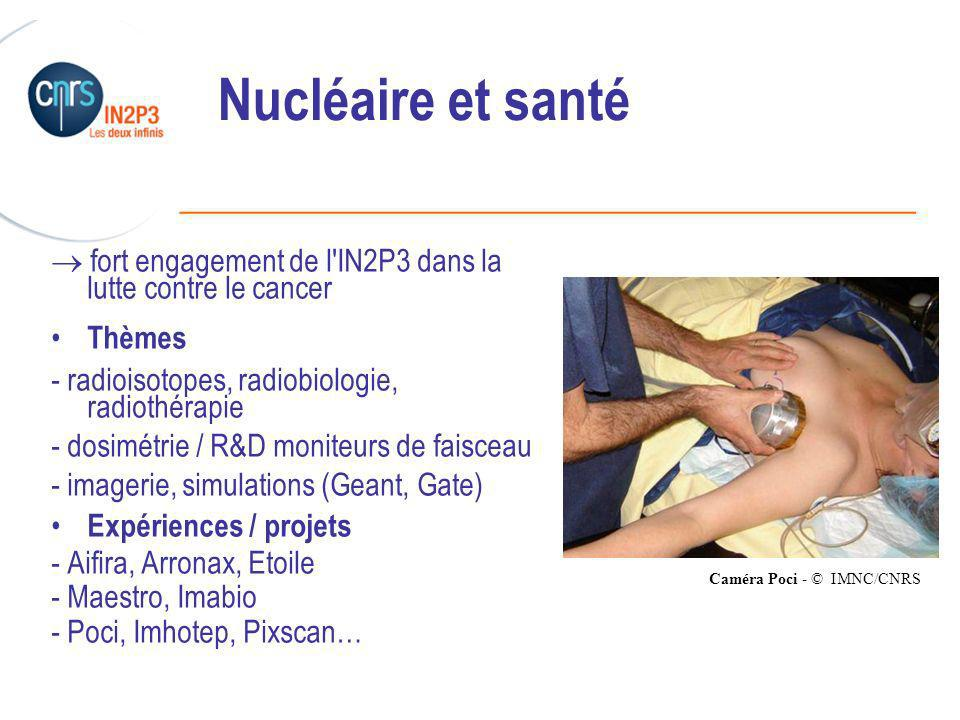 Nucléaire et santé  fort engagement de l IN2P3 dans la lutte contre le cancer. Thèmes. - radioisotopes, radiobiologie, radiothérapie.