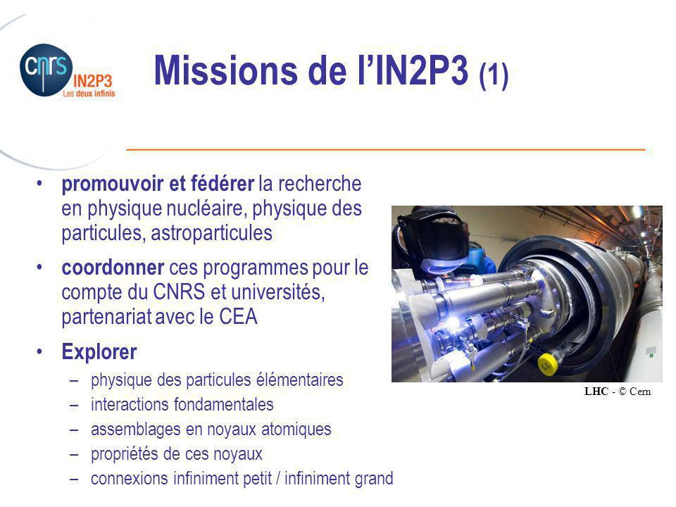 Missions de l'IN2P3 (1) promouvoir et fédérer la recherche en physique nucléaire, physique des particules, astroparticules.