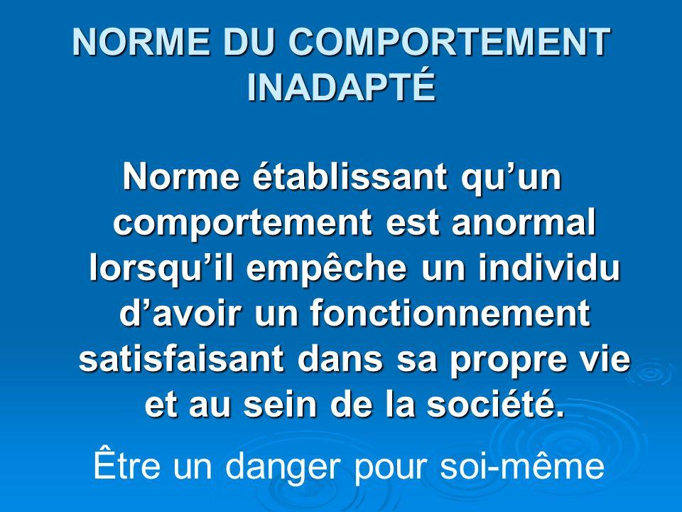 NORME DU COMPORTEMENT INADAPTÉ