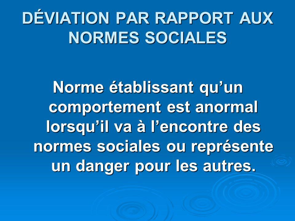 DÉVIATION PAR RAPPORT AUX NORMES SOCIALES