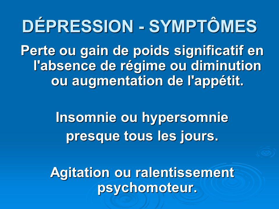 DÉPRESSION - SYMPTÔMES
