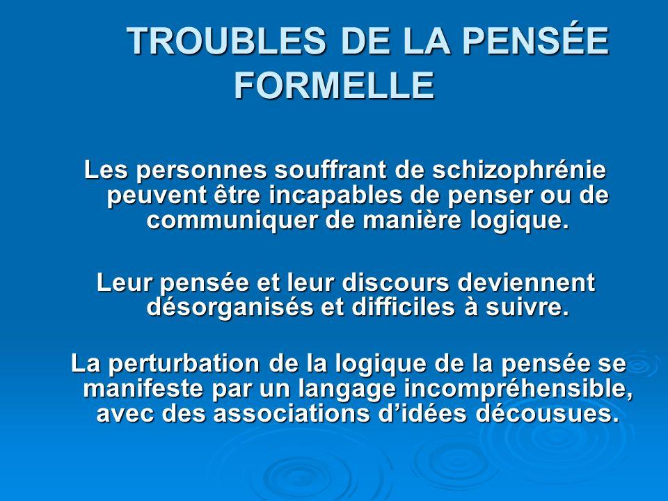 TROUBLES DE LA PENSÉE FORMELLE