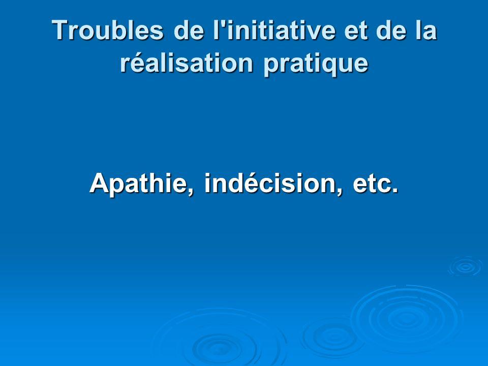 Troubles de l initiative et de la réalisation pratique