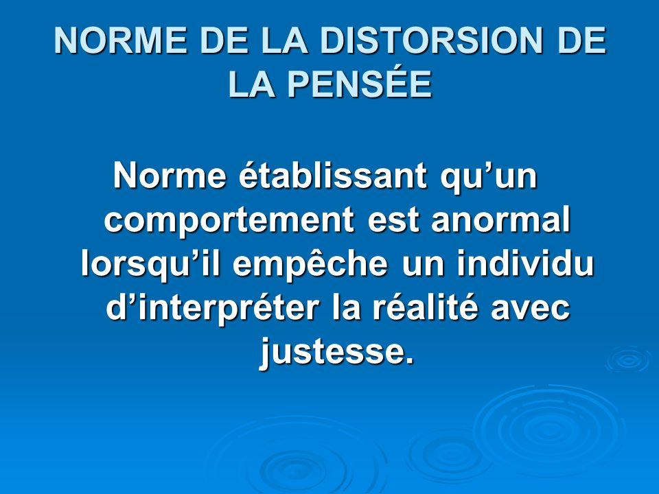 NORME DE LA DISTORSION DE LA PENSÉE