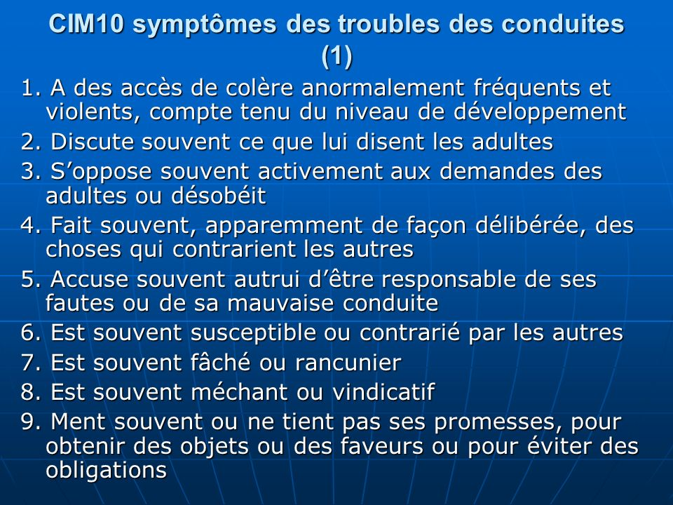 CIM10 symptômes des troubles des conduites (1)