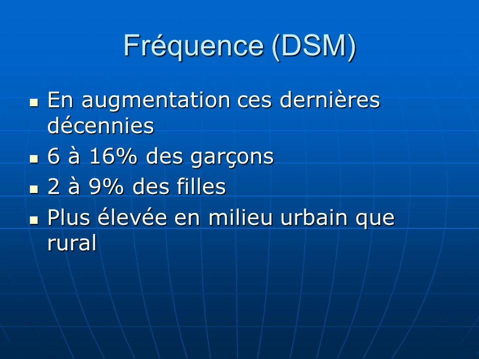 Fréquence (DSM) En augmentation ces dernières décennies