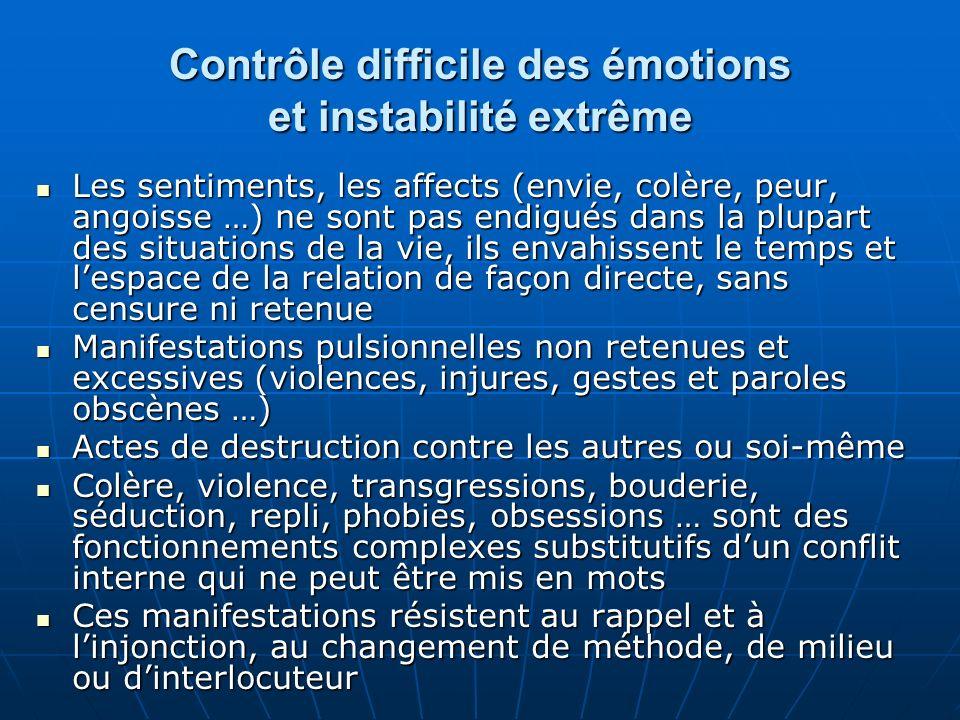 Contrôle difficile des émotions et instabilité extrême