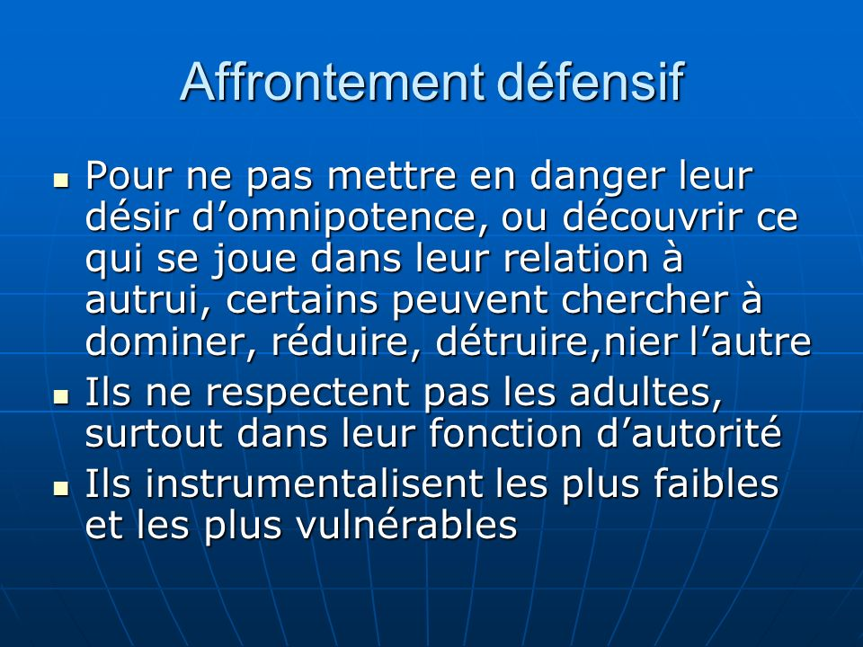 Affrontement défensif