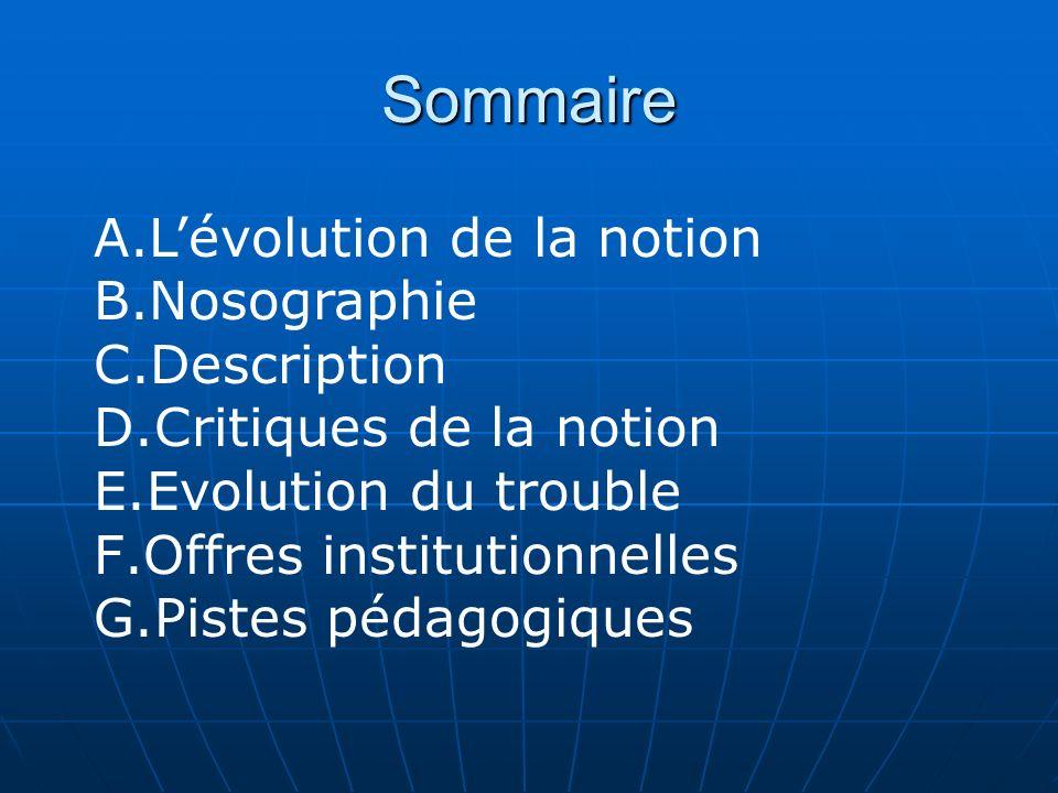 Sommaire L'évolution de la notion Nosographie Description