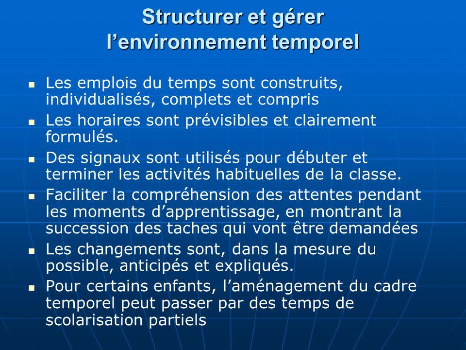 Structurer et gérer l'environnement temporel
