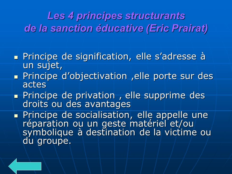 Les 4 principes structurants de la sanction éducative (Eric Prairat)