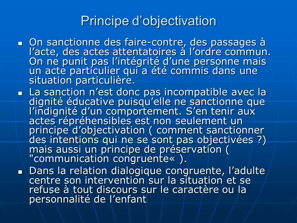 Principe d'objectivation