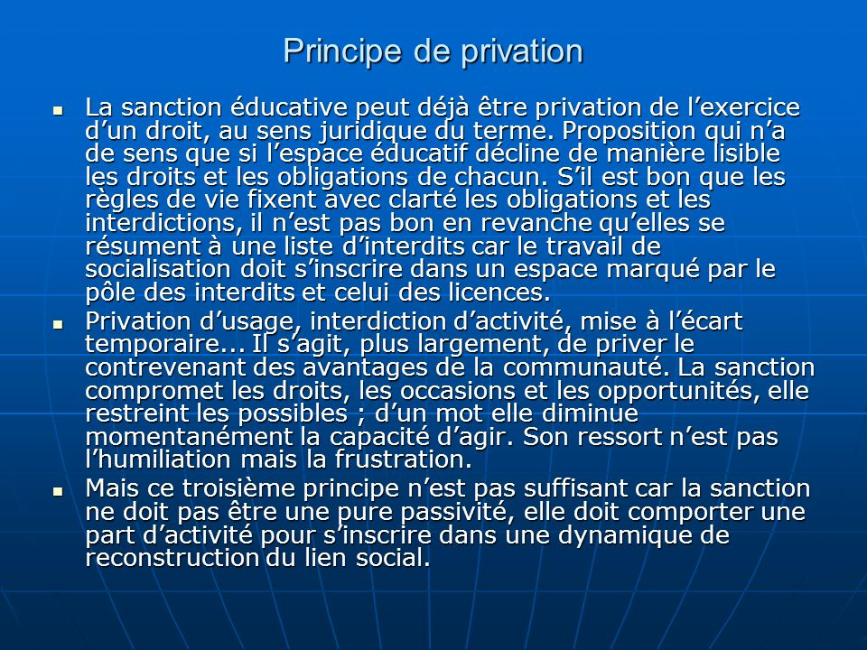 Principe de privation