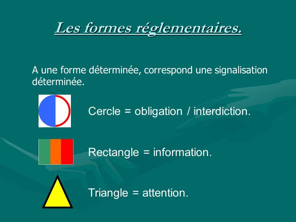 Les formes réglementaires.