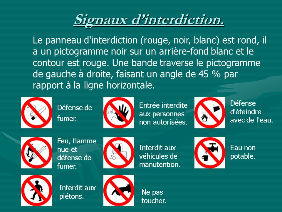 Signaux d'interdiction.