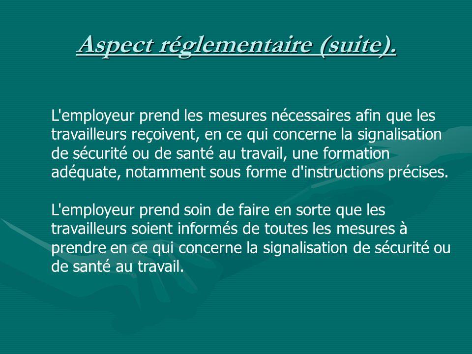 Aspect réglementaire (suite).