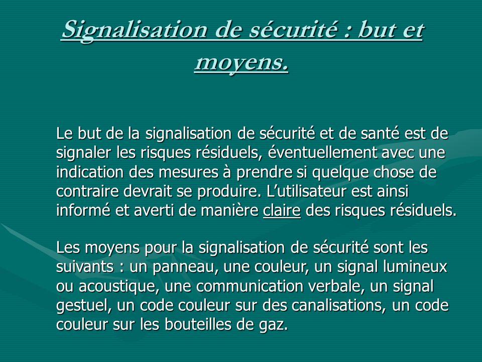 Signalisation de sécurité : but et moyens.