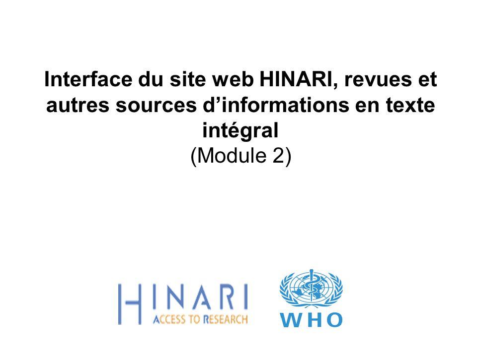 Interface du site web HINARI, revues et autres sources d'informations en texte intégral (Module 2)