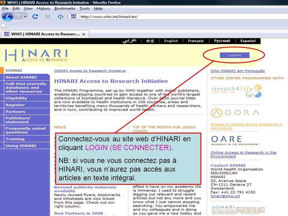Logging in to HINARI 1 Connectez-vous au site web d'HINARI en cliquant LOGIN (SE CONNECTER).