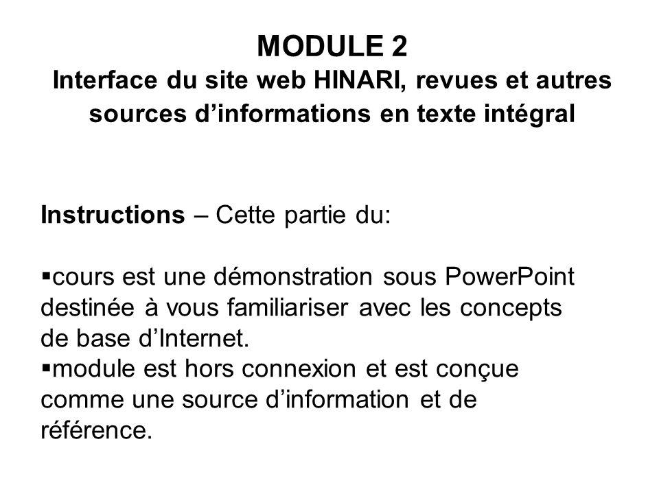 MODULE 2 Interface du site web HINARI, revues et autres sources d'informations en texte intégral