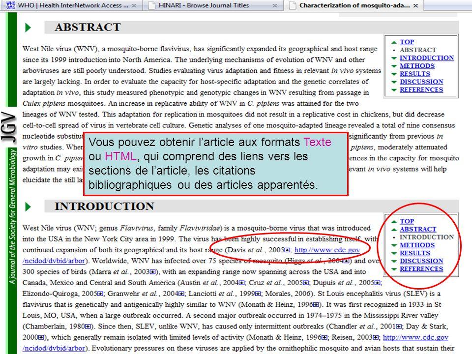 Vous pouvez obtenir l'article aux formats Texte ou HTML, qui comprend des liens vers les sections de l'article, les citations bibliographiques ou des articles apparentés.