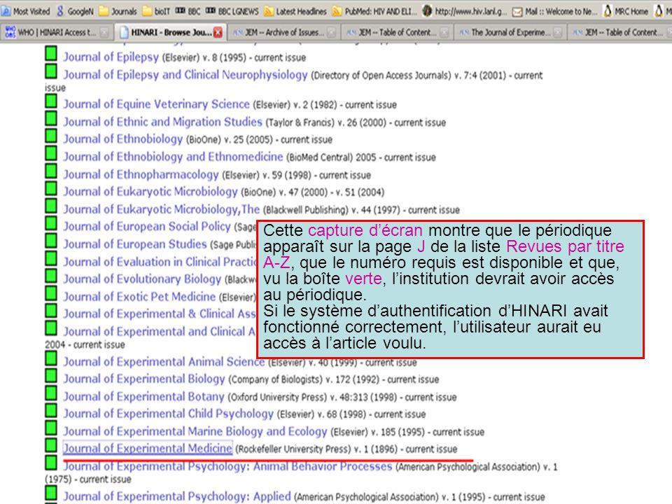Cette capture d'écran montre que le périodique apparaît sur la page J de la liste Revues par titre A-Z, que le numéro requis est disponible et que, vu la boîte verte, l'institution devrait avoir accès au périodique.