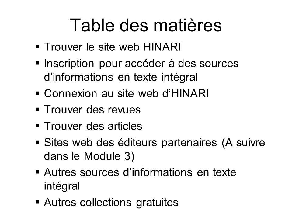 Table des matières Trouver le site web HINARI