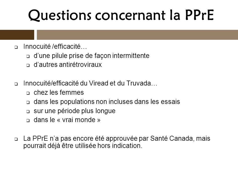Questions concernant la PPrE