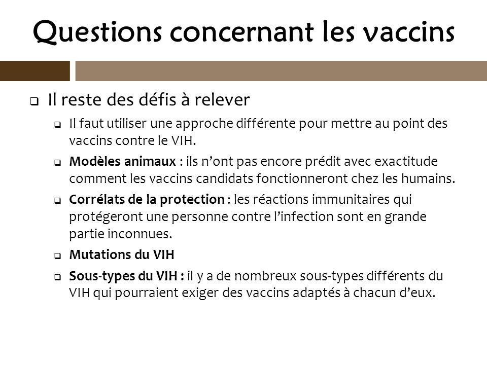 Questions concernant les vaccins