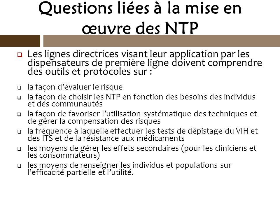 Questions liées à la mise en œuvre des NTP