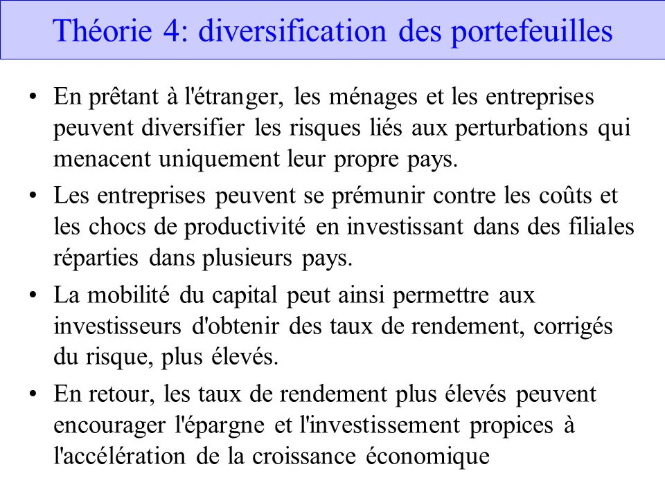 Théorie 4: diversification des portefeuilles