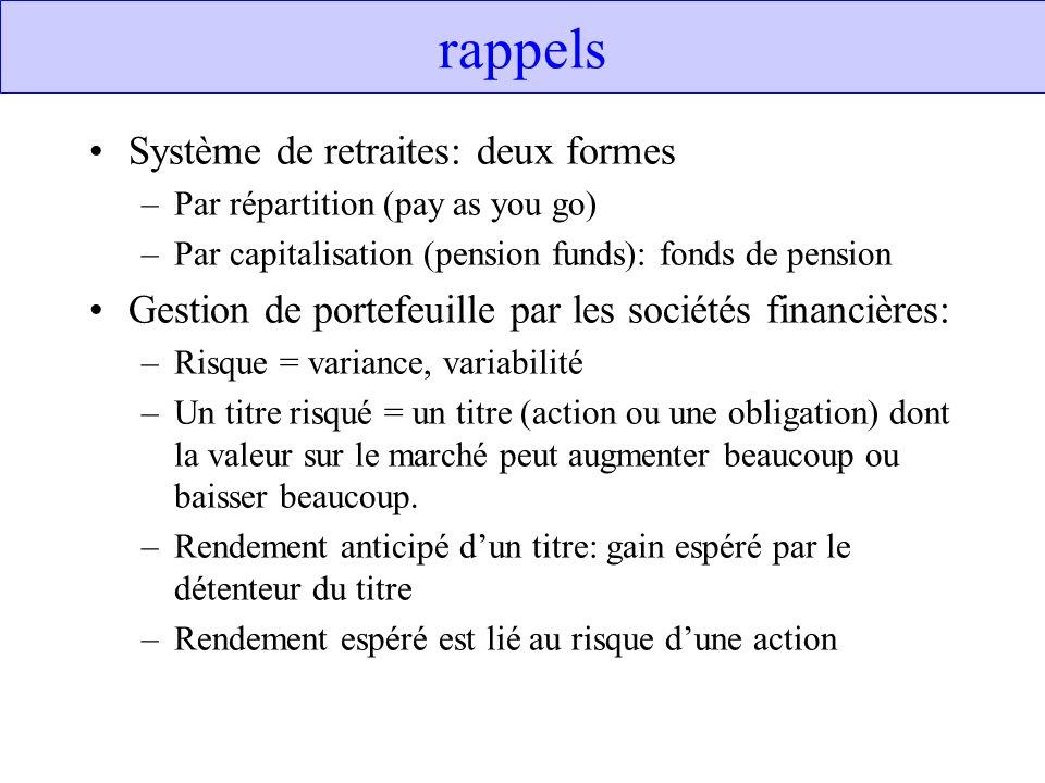 rappels Système de retraites: deux formes