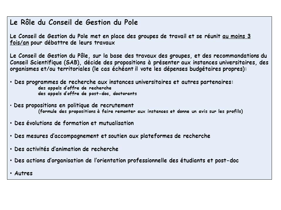 Le Rôle du Conseil de Gestion du Pole