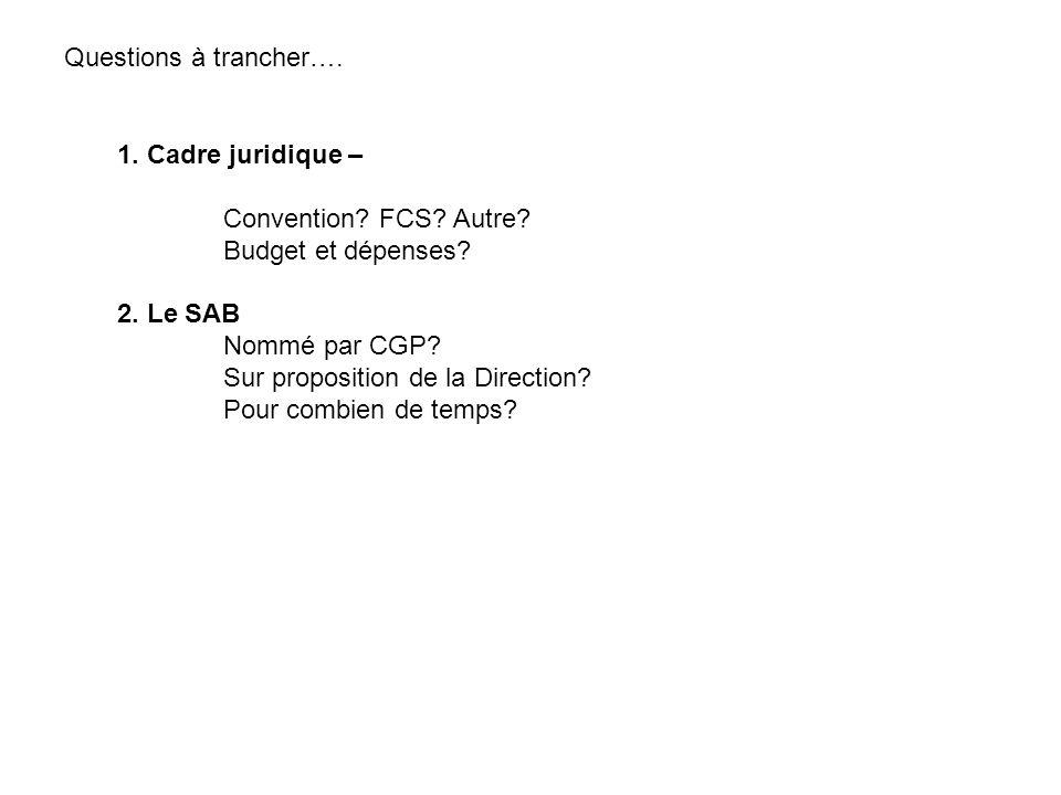 Questions à trancher…. 1. Cadre juridique – Convention FCS Autre Budget et dépenses 2. Le SAB.