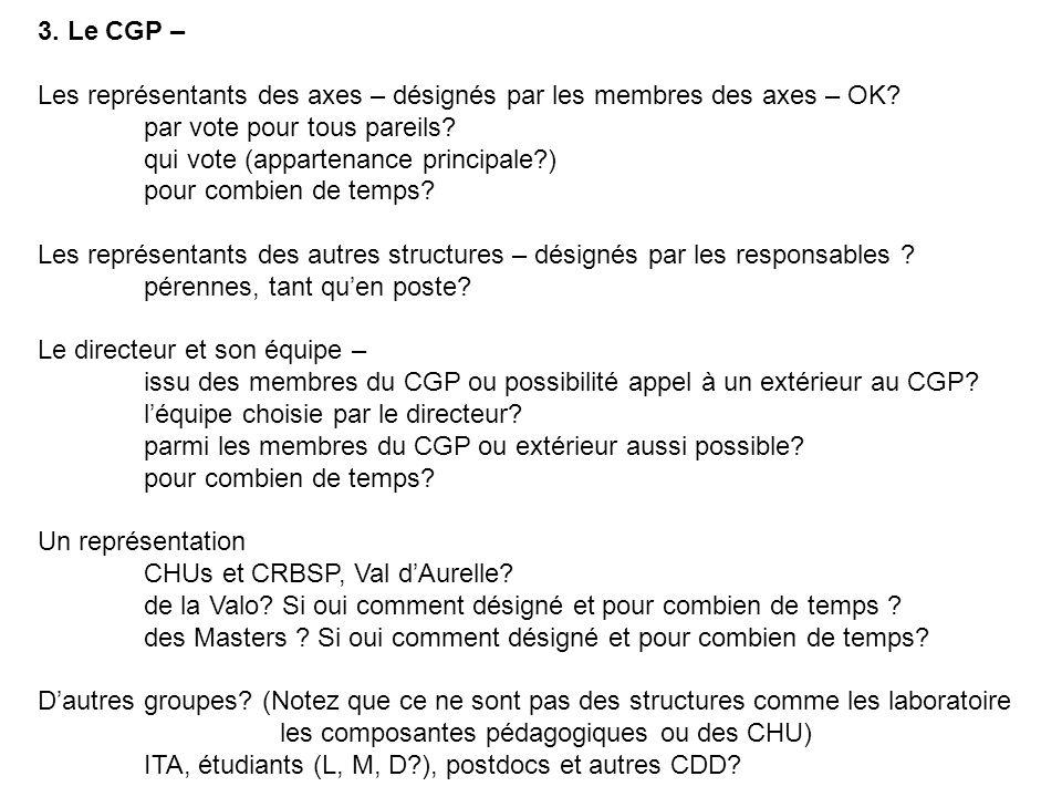 3. Le CGP – Les représentants des axes – désignés par les membres des axes – OK par vote pour tous pareils