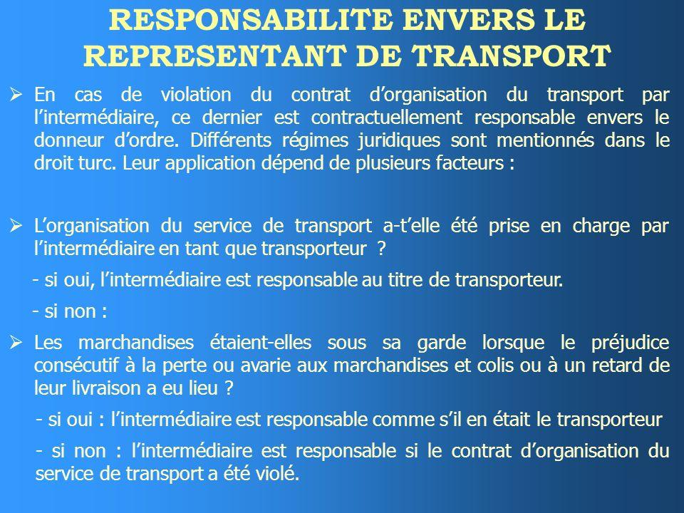 RESPONSABILITE ENVERS LE REPRESENTANT DE TRANSPORT