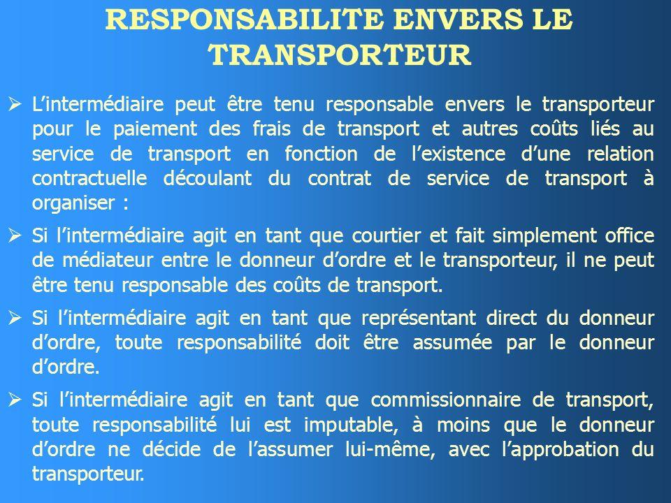 RESPONSABILITE ENVERS LE TRANSPORTEUR