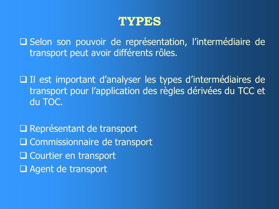 TYPES Selon son pouvoir de représentation, l'intermédiaire de transport peut avoir différents rôles.