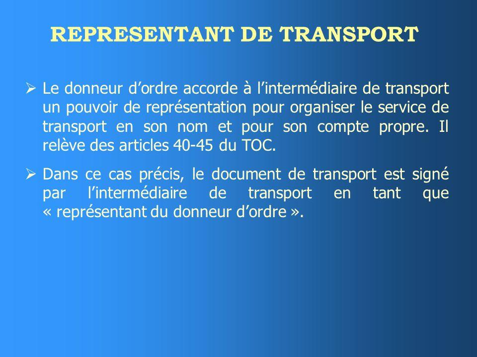 REPRESENTANT DE TRANSPORT