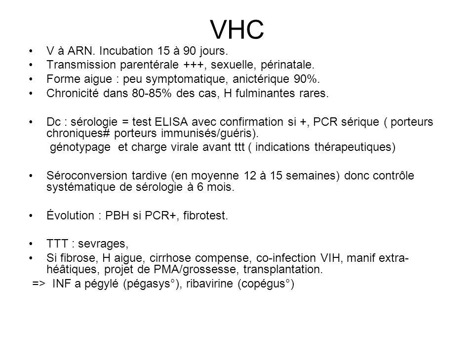 VHC V à ARN. Incubation 15 à 90 jours.